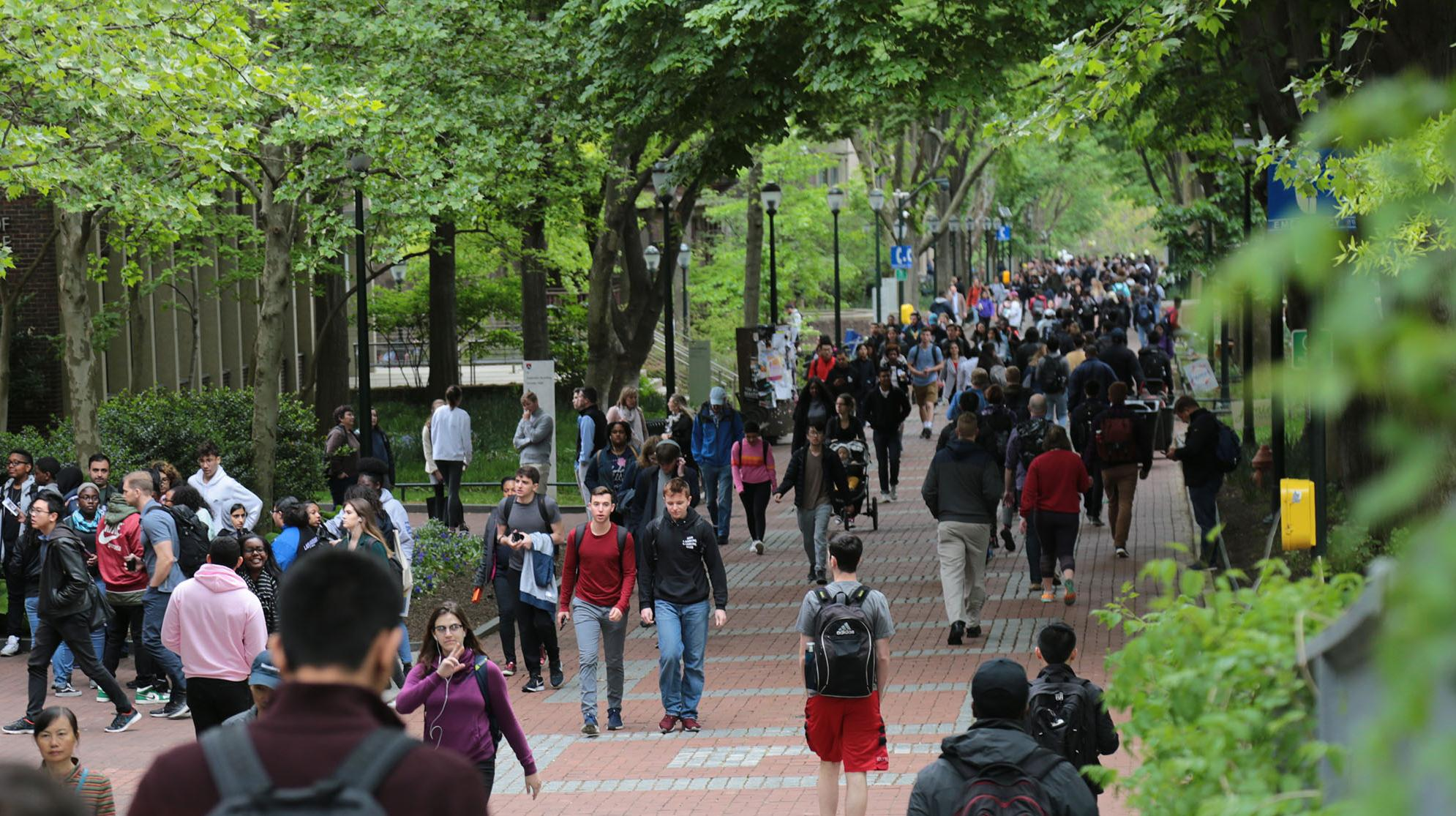Students on Locust Walk